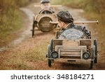 two boys  riders compete... | Shutterstock . vector #348184271