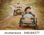 two boys  riders compete...   Shutterstock . vector #348184277