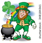 leprechaun with rainbow... | Shutterstock .eps vector #348184361