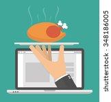 ordering food online concept....   Shutterstock .eps vector #348186005