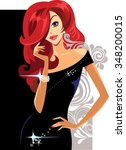 glamour lady in black dress and ... | Shutterstock .eps vector #348200015