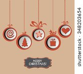 vintage card with christmas... | Shutterstock .eps vector #348203654