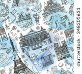 paris winter seamless pattern... | Shutterstock .eps vector #348205631