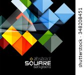 glossy color squares on black.... | Shutterstock .eps vector #348208451
