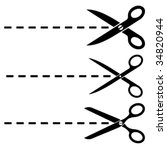 vector scissors cut lines   Shutterstock .eps vector #34820944