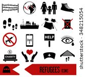 various simple refugees theme... | Shutterstock .eps vector #348215054