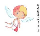 hand drawn doodle cupid postman ... | Shutterstock .eps vector #348237431