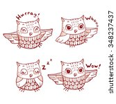 cartoon owls emotions set.... | Shutterstock .eps vector #348237437