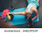 woman worming up and stretching ... | Shutterstock . vector #348239339