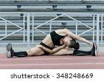 girl athlete is doing splits.... | Shutterstock . vector #348248669
