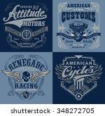 vintage motorsport emblem... | Shutterstock .eps vector #348272705