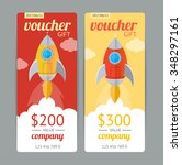 modern gift voucher with rocket ...
