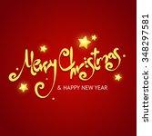 christmas card background. gold ... | Shutterstock .eps vector #348297581