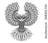 vector ornamental owl  ethnic... | Shutterstock .eps vector #348301754