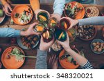 cheers  top view of people... | Shutterstock . vector #348320021