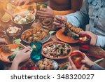 friendly dinner. top view of... | Shutterstock . vector #348320027