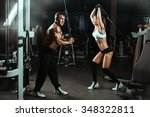 man and a woman trained muscles ... | Shutterstock . vector #348322811