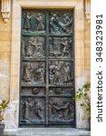 ancient metal door. | Shutterstock . vector #348323981