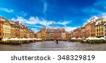 old town square in warsaw in a... | Shutterstock . vector #348329819