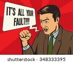 angry man pop art style vector... | Shutterstock .eps vector #348333395
