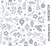 seamless christmas pattern  | Shutterstock .eps vector #348338729