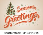 seasons greetings. vintage card ... | Shutterstock .eps vector #348344345