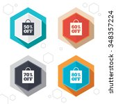 hexagon buttons. sale bag tag... | Shutterstock . vector #348357224