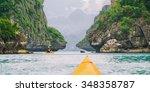yellow kayak on turquoise sea... | Shutterstock . vector #348358787