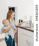 young mother navigating the...   Shutterstock . vector #348361835