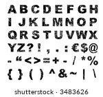 grunge font alphabet   letters  ... | Shutterstock .eps vector #3483626