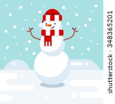 christmas snowman enjoying snow.... | Shutterstock .eps vector #348365201