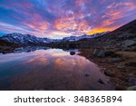 high altitude alpine lake in... | Shutterstock . vector #348365894