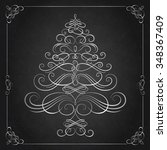 calligraphy christmas tree.... | Shutterstock .eps vector #348367409