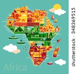 cartoon map of africa | Shutterstock .eps vector #348369515