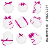 card with pink ribbon and bow... | Shutterstock .eps vector #348371399