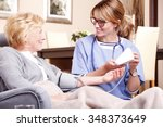portrait of middle age home... | Shutterstock . vector #348373649