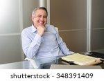 mature happy smiling business... | Shutterstock . vector #348391409
