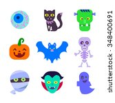 set of halloween icons  vector... | Shutterstock .eps vector #348400691