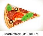 slice of pizza  realistic... | Shutterstock .eps vector #348401771