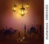 eid mubarak arabic lamp and... | Shutterstock .eps vector #348414101