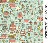 happy birthday pattern   Shutterstock .eps vector #348422204