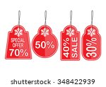 christmas sale cards  set  red... | Shutterstock .eps vector #348422939