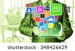 business man using tablet pc... | Shutterstock . vector #348426629