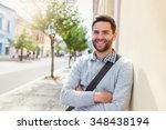 handsome young man on a walk in ... | Shutterstock . vector #348438194