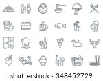 Restaurant icon set suitable for info graphics, websites and print media. Black and white flat line icons. | Shutterstock vector #348452729