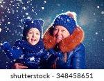 happy grandchild and grandma... | Shutterstock . vector #348458651