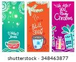cute vector chrismas cards with ... | Shutterstock .eps vector #348463877