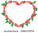 heart shaped border with roses | Shutterstock .eps vector #348470954