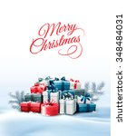 holiday christmas background... | Shutterstock .eps vector #348484031