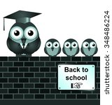 comical back to school sign on... | Shutterstock . vector #348486224